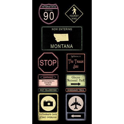 Scrapbook Customs - United States Collection - Montana - Cardstock Stickers - Road Signs