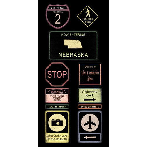 Scrapbook Customs - United States Collection - Nebraska - Cardstock Stickers - Road Signs