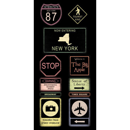 Scrapbook Customs - United States Collection - New York - Cardstock Stickers - Road Signs