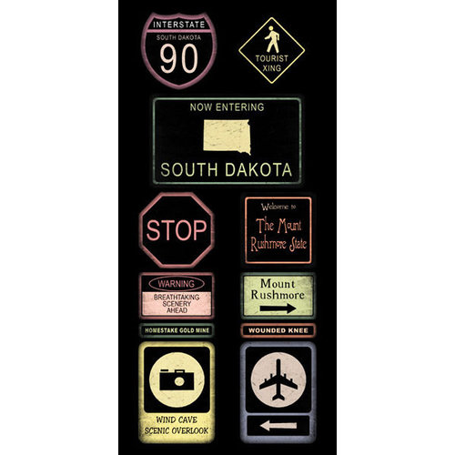 Scrapbook Customs - United States Collection - South Dakota - Cardstock Stickers - Road Signs