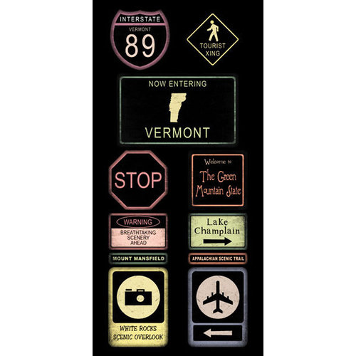 Scrapbook Customs - United States Collection - Vermont - Cardstock Stickers - Road Signs