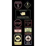 Scrapbook Customs - United States Collection - Washington - Cardstock Stickers - Road Signs
