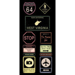 Scrapbook Customs - United States Collection - West Virginia - Cardstock Stickers - Road Signs