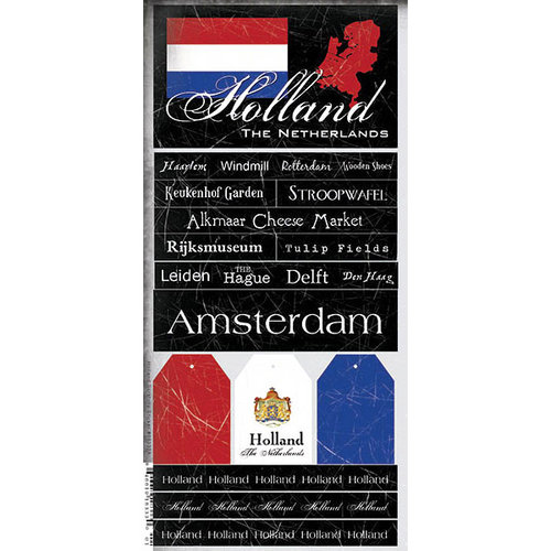 Scrapbook Customs - World Collection - Holland - Cardstock Stickers - Scratchy