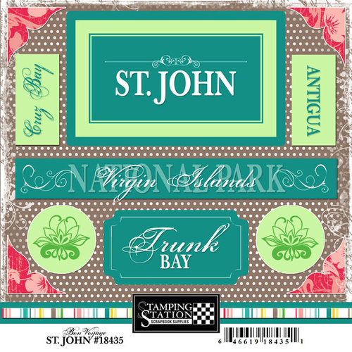 Scrapbook Customs - World Collection - Virgin Islands - Cardstock Stickers - St. John - Bon Voyage