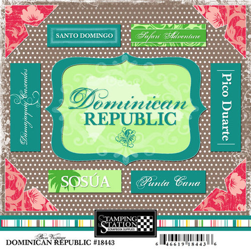 Scrapbook Customs - World Collection - Dominican Republic - Cardstock Stickers - Bon Voyage
