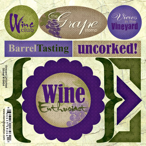Scrapbook Customs - Travel Collection - Vineyard - Cardstock Stickers - Vineyard Uncorked