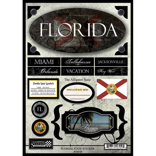 Scrapbook Customs - United States Collection - Florida - State Cardstock Stickers - Travel