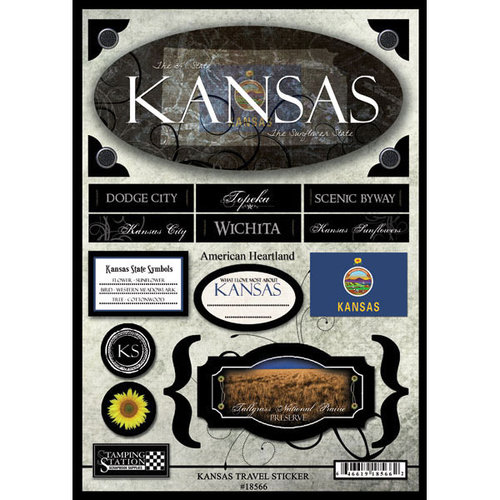 Scrapbook Customs - United States Collection - Kansas - State Cardstock Stickers - Travel
