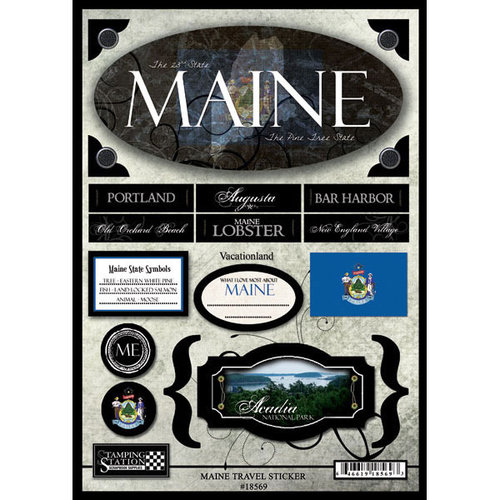 Scrapbook Customs United States Collection Maine State Cardstock Stickers Travel
