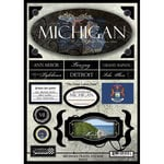 Scrapbook Customs - United States Collection - Michigan - State Cardstock Stickers - Travel