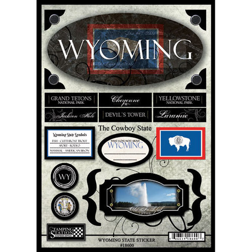 Scrapbook Customs United States Wyoming State Cardstock Stickers Travel