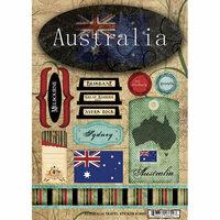 Scrapbook Customs - World Collection - Australia - Cardstock Stickers - Travel