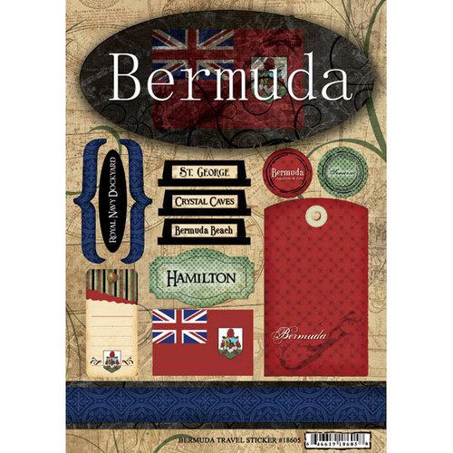Scrapbook Customs - World Collection - Bermuda - Cardstock Stickers - Travel