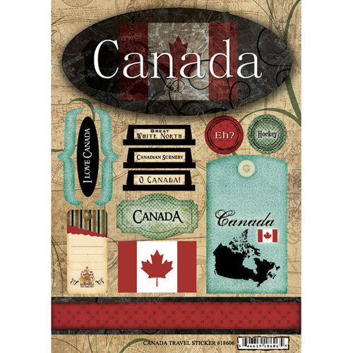 Scrapbook Customs - World Collection - Canada - Cardstock Stickers - Travel