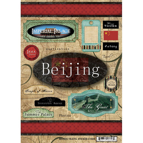 Scrapbook Customs - World Collection - China - Cardstock Stickers - Travel - Beijing
