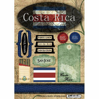 Scrapbook Customs - World Collection - Costa Rica - Cardstock Stickers - Travel