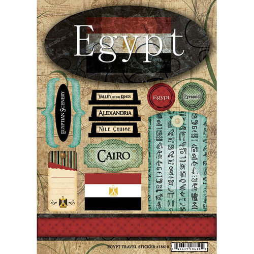 Scrapbook Customs - World Collection - Egypt - Cardstock Stickers - Travel