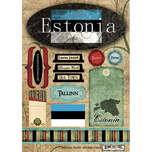 Scrapbook Customs - World Collection - Estonia - Cardstock Stickers - Travel
