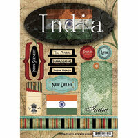 Scrapbook Customs - World Collection - India - Cardstock Stickers - Travel