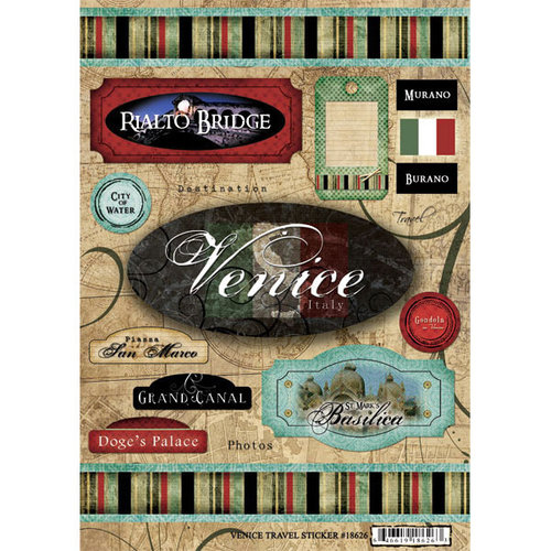 Scrapbook Customs - World Collection - Italy - Cardstock Stickers - Travel - Venice