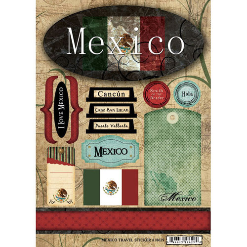 Scrapbook Customs - World Collection - Mexico - Cardstock Stickers - Travel