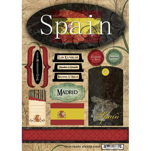Scrapbook Customs - World Collection - Spain - Cardstock Stickers - Travel
