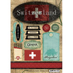 Scrapbook Customs - World Collection - Switzerland - Cardstock Stickers - Travel