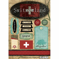Scrapbook Customs - World Collection - Switzerland - Cardstock Stickers - Travel