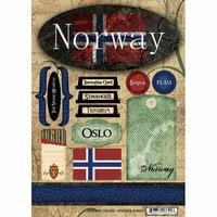 Scrapbook Customs - World Collection - Norway - Cardstock Stickers - Travel