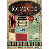 Scrapbook Customs - World Collection - Morocco - Cardstock Stickers - Travel