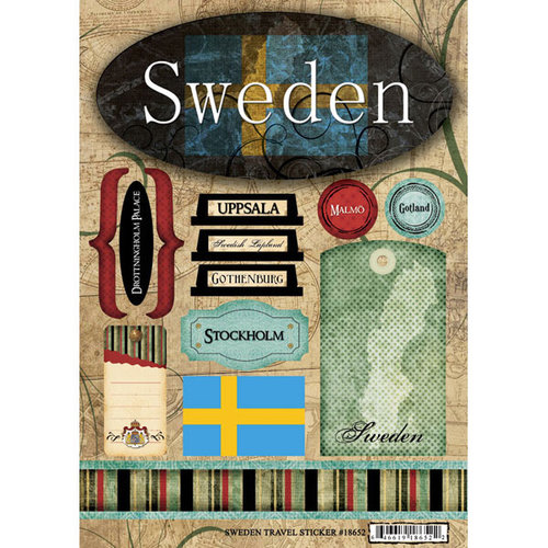 Scrapbook Customs - World Collection - Sweden - Cardstock Stickers - Travel