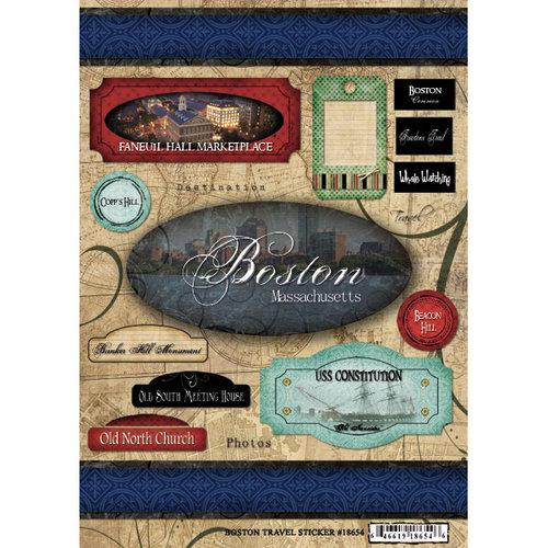 Scrapbook Customs United States Massachusetts Cardstock Stickers Travel Boston