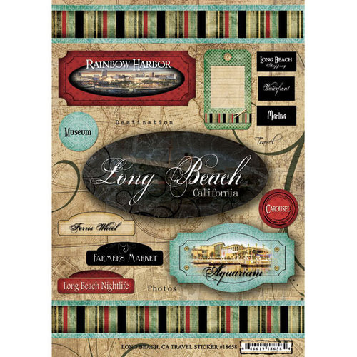 Scrapbook Customs - United States Collection - California - Cardstock Stickers - Travel - Long Beach