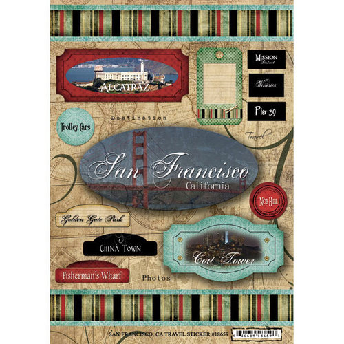 Scrapbook Customs - United States Collection - California - Cardstock Stickers - Travel - San Francisco