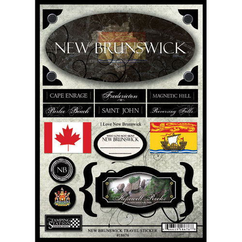 Scrapbook Customs - World Collection - Canada - Cardstock Stickers - Travel - New Brunswick