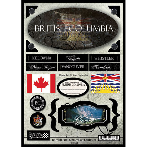 Scrapbook Customs - World Collection - Canada - Cardstock Stickers - Travel - British Columbia