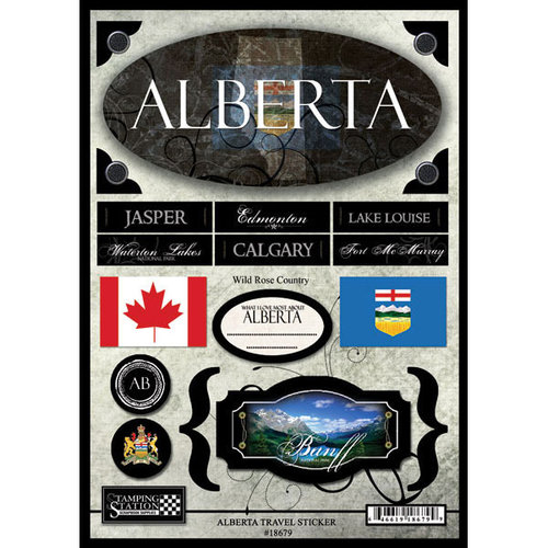 Scrapbook Customs - World Collection - Canada - Cardstock Stickers - Travel - Alberta