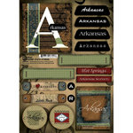 Scrapbook Customs - United States Collection - Arkansas - Cardstock Stickers - Patchwork