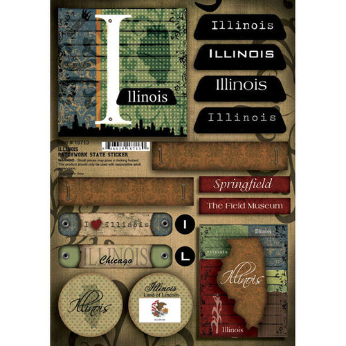 Scrapbook Customs - United States Collection - Illinois - Cardstock Stickers - Patchwork
