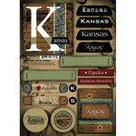 Scrapbook Customs - United States Collection - Kansas - Cardstock Stickers - Patchwork