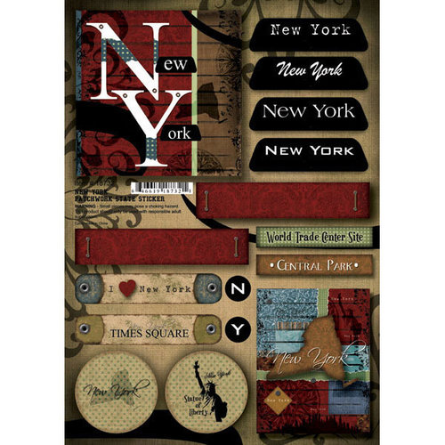Scrapbook Customs - United States Collection - New York - Cardstock Stickers - Patchwork