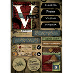 Scrapbook Customs - United States Collection - Virginia - Cardstock Stickers - Patchwork