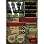 Scrapbook Customs - United States Collection - Washington - Cardstock Stickers - Patchwork
