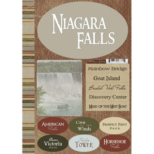 Scrapbook Customs - United States Collection - New York - National Park - Cardstock Stickers - Niagara Falls