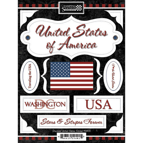 Scrapbook Customs - World Collection - United States - Cardstock Stickers - Discover