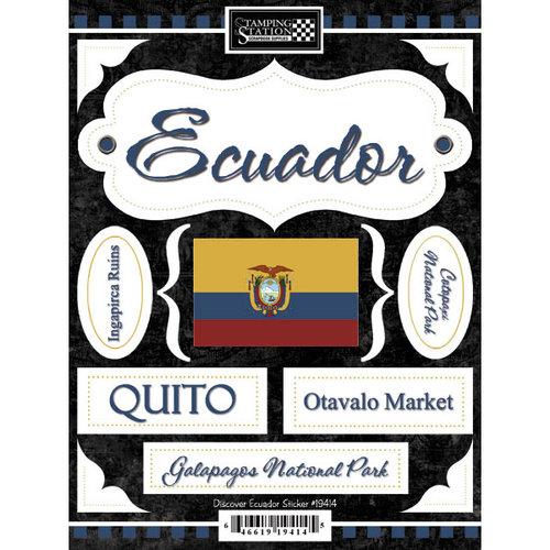 Scrapbook Customs - World Collection - Ecuador - Cardstock Stickers - Discover