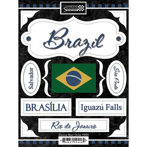 Scrapbook Customs - World Collection - Brazil - Cardstock Stickers - Discover