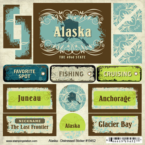 Scrapbook Customs - United States Collection - Alaska - Distressed Cardstock Stickers