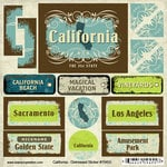 Scrapbook Customs - United States Collection - California - Distressed Cardstock Stickers
